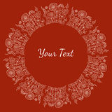 Hand drawn decorative white text or image frame with flowers and. Vector hand drawn decorative white text or image frame with flowers and natural elements on red Stock Photography
