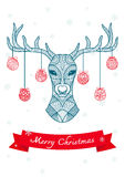 Hand drawn deer head with Christmas balls hanging on its horn, for christmas card and decoration Royalty Free Stock Photography