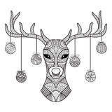 Hand drawn deer head with Christmas balls hanging on its horn, for coloring book,christmas card,decoration Royalty Free Stock Image