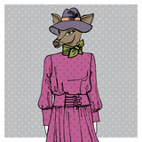 Hand drawn deer hipster girl in dress.Colors Royalty Free Stock Image