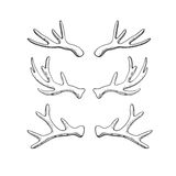 Hand drawn deer horns. Set of hand drawn deer horns isolated on white. Vector illustration in rustic style Stock Photos