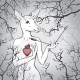 Hand drawn deer with human body and burning heart holding broken arrow in the misty forest. Line art and dot art print design Stock Photo