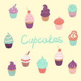 Hand drawn delicious yummy vector cupcakes Royalty Free Stock Photo