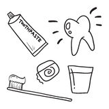 Hand drawn dental care toothpaste, teeth symbol vector icon Royalty Free Stock Photos