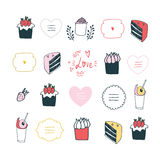 Hand drawn design element set delicious food Lovely labels lettering Royalty Free Stock Image