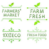 Hand drawn design elements. Farmer's market labels. VECTOR illustrations set Stock Illustration