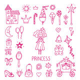 Hand drawn design elements of little princess. Sketchy fairy tal Royalty Free Stock Photos