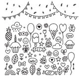 Hand drawn design elements. Party set of celebration objects.  Stock Photography