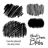 Hand drawn design elements, textured blobs of black ink for graphic art design royalty free stock photos