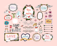 Hand drawn design elements for wedding invitations Stock Image