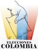 Hand Voting in Hand Drawn and Glows for Colombian Elections, Vector Illustration stock illustration