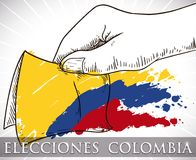 Tricolor Brushstrokes over Hand with Electoral Card for Colombian Elections, Vector Illustration. Hand drawn design with hand holding electoral paper and Royalty Free Stock Photography