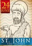 Hand Drawn Design for Saint John`s Eve in June 24, Vector Illustration Stock Photo