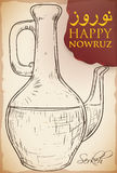 Hand Drawn Design of Serkeh or Vinegar Bottle for Nowruz, Vector Illustration Royalty Free Stock Photo