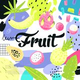 Hand Drawn Design with Tropical Fruits and Abstract Elements. Freehand Childish Summer Background for Decoration. Vector illustration Royalty Free Stock Images