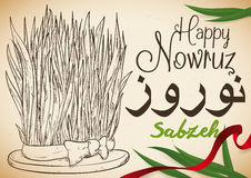 Hand Drawn Design of Wheat and Ribbon for Nowruz Celebration, Vector Illustration. Poster with hand drawn design of wheatgrass -or Sabzeh- with red ribbon and Stock Photography