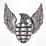 Hand drawn design of a winged manual grenade. Royalty Free Stock Photos