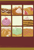 Hand drawn dessert collection. Each dessert item is on separate layers. Background, frames and frame backgrounds on separate layers. Desserts are cropped with stock illustration