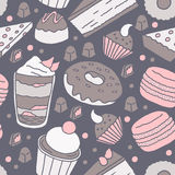 Hand Drawn Dessert Pattern. A seamless hand drawn dessert pattern with pink, brown and dark blue Royalty Free Stock Photography