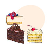 Hand drawn desserts - pieces of cheesecake and layered vanilla cake Royalty Free Stock Photos