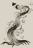Hand drawn detailed abstract root. With butterfly background Royalty Free Stock Photos