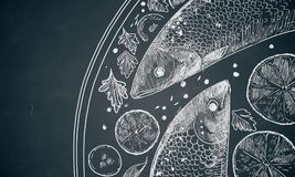 Fish dish scribble. Hand drawn detailed fish dish scribble on dark background. Food concept Royalty Free Stock Image