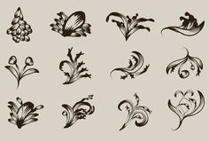 Hand drawn detailed floral ornaments Royalty Free Stock Photo