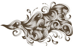 Hand drawn detailed flowing swirl element. Hand drawn and detailed flowing swirl design element Royalty Free Stock Images