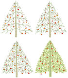 Four Different Christmas Trees Royalty Free Stock Images