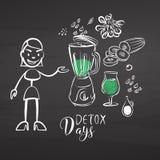 Hand-drawn detox vegetables on chalkboard Stock Photo