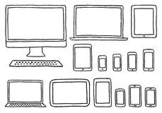 Hand-drawn devices, vector set Royalty Free Stock Images