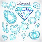 Hand drawn diamonds vector set Royalty Free Stock Photos