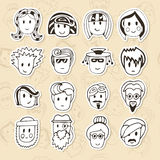 Hand drawn different funny faces. Doodle vector avatars set Royalty Free Stock Photo