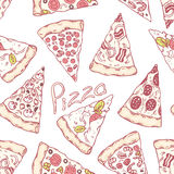 Hand drawn different pizza slices seamless pattern. Pizzeria background Royalty Free Stock Photos