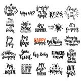 Hand drawn different quotes set of lettering phrases isolated on the white background. Fun brush ink vector illustration Royalty Free Stock Photos