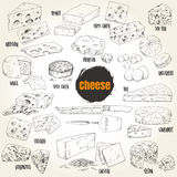 Hand drawn different types of cheese collection. Vector illustration Royalty Free Stock Photo