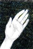 Digital illustration of a woman`s left hand on black background. Hand drawn digital illustration of a woman`s left hand, in black pencil on black background stock illustration