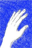 Digital illustration of a woman`s left hand on blue background. Hand drawn digital illustration of a woman`s left hand, in black pencil on blue background stock illustration