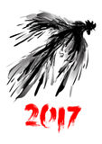 Hand drawn digital rooster in flight. Ink painting. Jumping cock. Grunge doodle vector illustration. Royalty Free Stock Photography