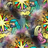 Seamless Watercolour Christmas Nativity Scene. A hand drawn digitally painted seamless Christmas nativity scene. This is a seamless design Royalty Free Stock Image