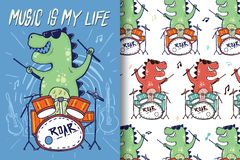 Hand-drawn dinosaur drums with editable patterns royalty free illustration