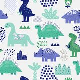 Hand Drawn Dinosaurs Seamless Pattern. Creative Childish Background with Cute Dino for Fabric, Textile. Wallpaper, Decoration, Prints. Vector illustration Stock Photography