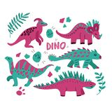 Hand drawn dinosaurs set and tropical leaves. Cute funny cartoon dino collection. Hand drawn vector set for kids design. Vector stock illustration