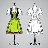 Hand drawn dirndl dress on mannequin. Royalty Free Stock Photography