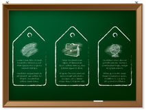 Hand drawn discount labels on chalkboard Stock Photo
