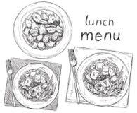 Hand drawn dish. Salads. Hand drawn business lunch menu. Salads sketch Royalty Free Stock Image