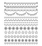 13 Hand Drawn Dividers. Bunting, hearts, stars, flowers, snowflakes Royalty Free Stock Photography