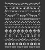 13 Hand Drawn Dividers. Bunting, hearts, stars, flowers, snowflakes stock illustration