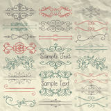 Hand Drawn Dividers, Frames, Swirls on Crumpled Paper. Set of Hand Sketched Doodle Design Elements. Decorative Floral Dividers, Borders, Swirls, Scrolls, Text Stock Photos