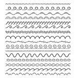 16 Hand Drawn Dividers. Waves, white background Royalty Free Stock Photography